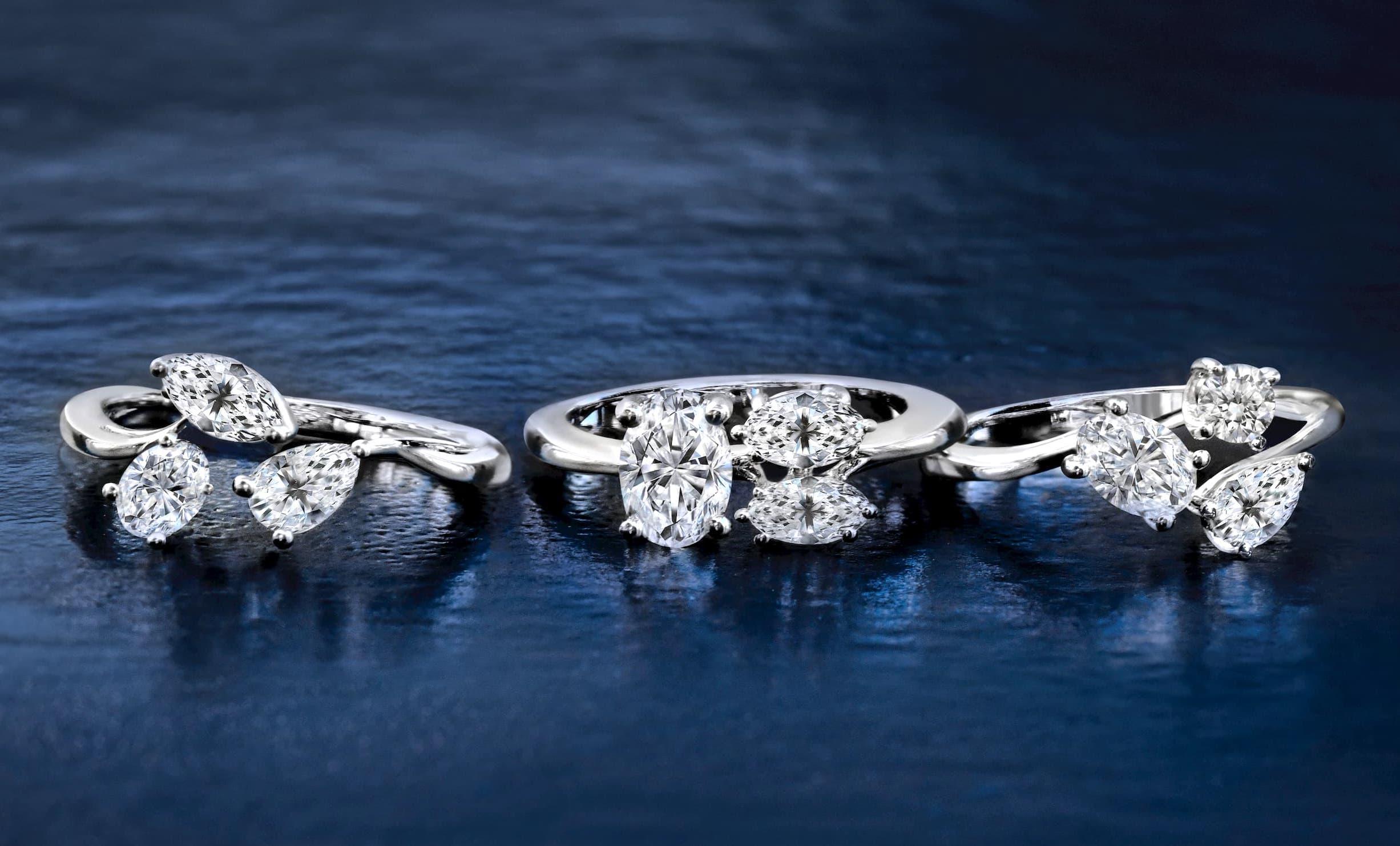 Simon G three stone diamond engagement rings