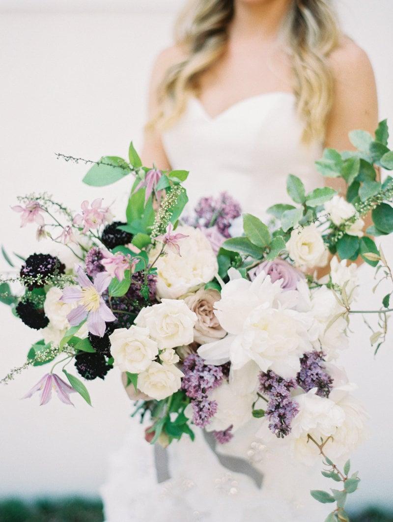 Purple bridal bouquet flowers