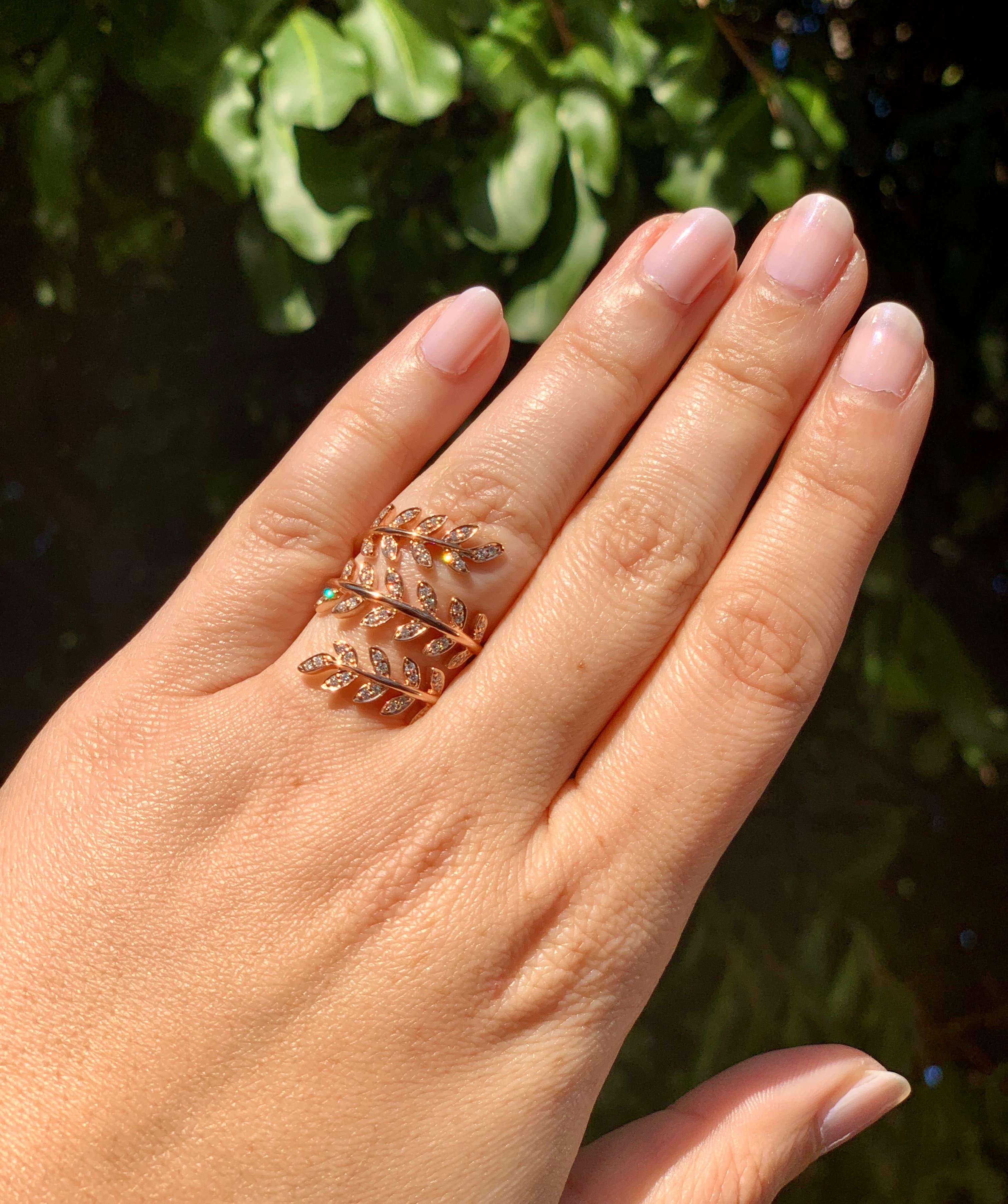 Rose gold and diamond vine ring