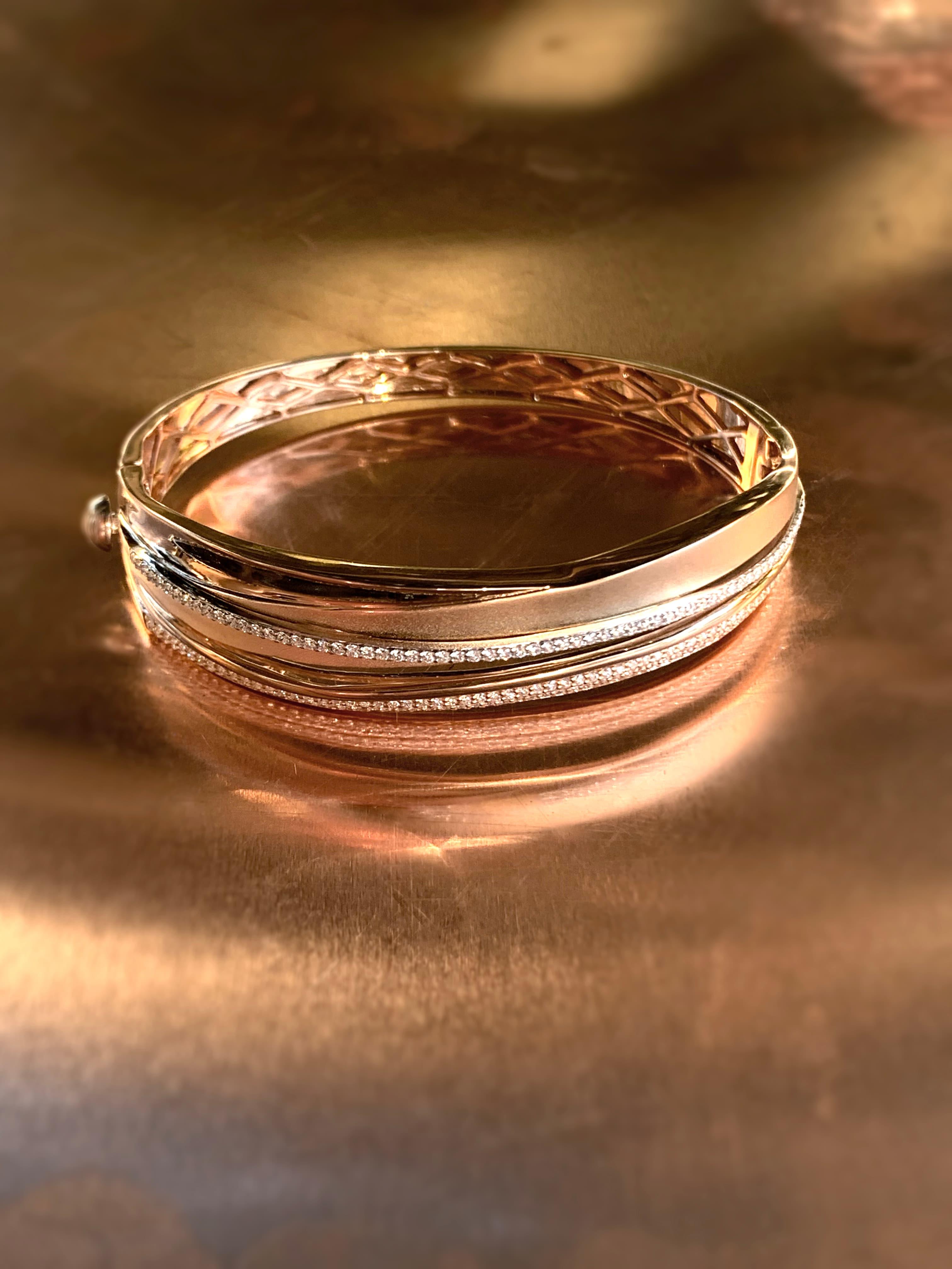 rose gold and diamond bangle