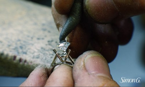 Simon G diamond setting engagement ring